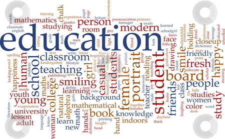 Education word cloud stock photo, Word cloud concept illustration of education studies by Kheng Guan Toh