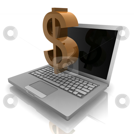 Online money notebook stock photo, Computer online finance money with dollar sign  and notebook by Kheng Guan Toh