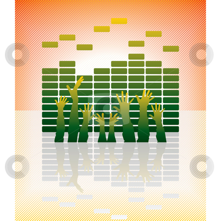 Equalizer stock vector clipart, Vector equalizer bar with hands and reflection by ojal_2