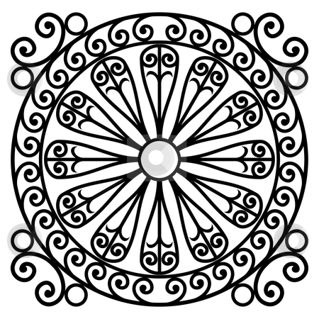 Wrought iron rosette stock vector clipart, Wrought iron rosette - vector illustration by ojal_2