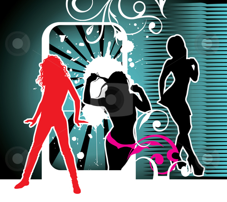 Party girls stock vector clipart, Party girls, silhouettes by ojal_2