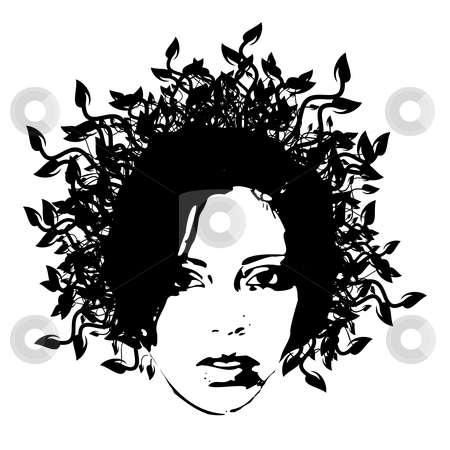 Floral woman face stock vector clipart, Floral woman face - vector illustration by Ilyes Laszlo