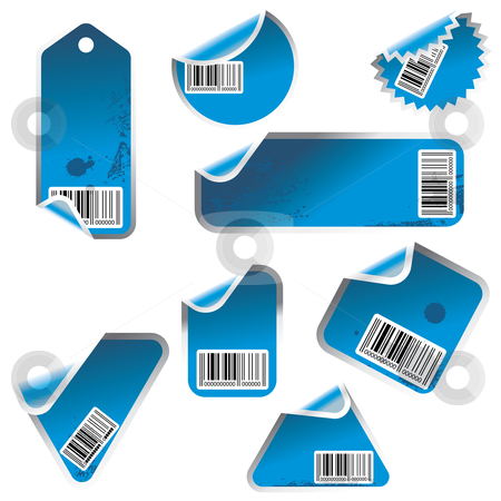 Blue multiple vector stickers stock vector clipart,  by ojal_2