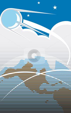 Sputnik Flight 2 stock vector clipart, Sputnik flying over the USA in retro poster style. by Jeffrey Thompson
