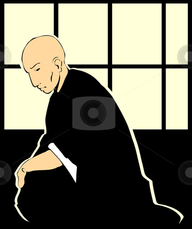 Shinto Priest stock vector clipart, A shinto priest reflects on life by japanese paper windows. by Jeffrey Thompson