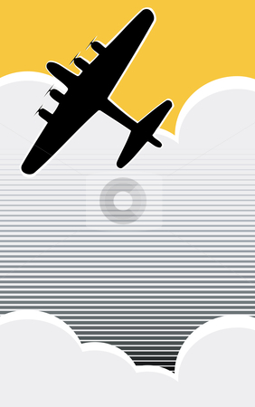 Lone Bomber stock vector clipart, Lone World War II bomber in the clouds in retro poster style. by Jeffrey Thompson
