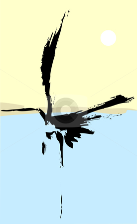 One Heron stock vector clipart, Heron rendered with simple japanese influenced brush strokes. by Jeffrey Thompson