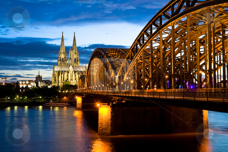 Cologne Cathedral stock photo, Cologne cathedral after sunset by Interlight