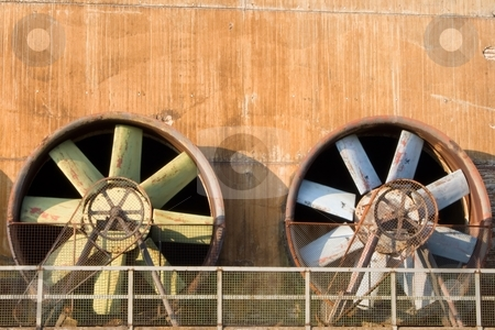 Obsolete Industrial Turbines stock photo, Two turbines in an obsolete industrial plant by Interlight