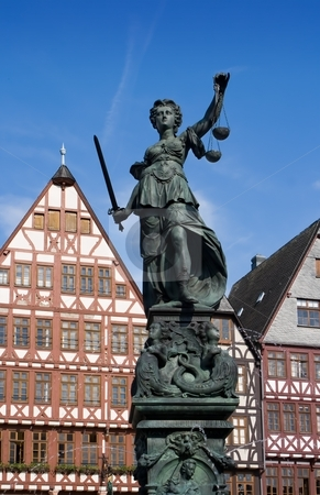 Statue of Lady Justice stock photo, Statue of Lady Justice in Frankfurt, Germany by Interlight