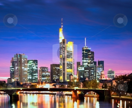 Frankfurt am Main stock photo, Frankfurt's skyline after sunset by Interlight
