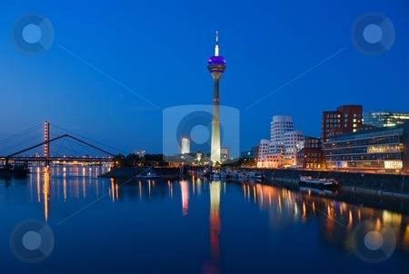 Dusseldorf Skyline stock photo, Dusseldorf Skyline at the Blue Hour by Interlight