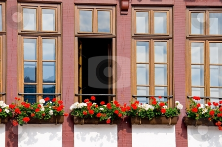Close-up of a half-timbered house stock photo, Close-up of a half-timbered house in Frankfurt, Germany by Interlight