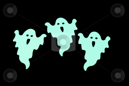 Glowing ghosts stock photo, Trio of green glow in the dark halloween favors by Stephen Gibson