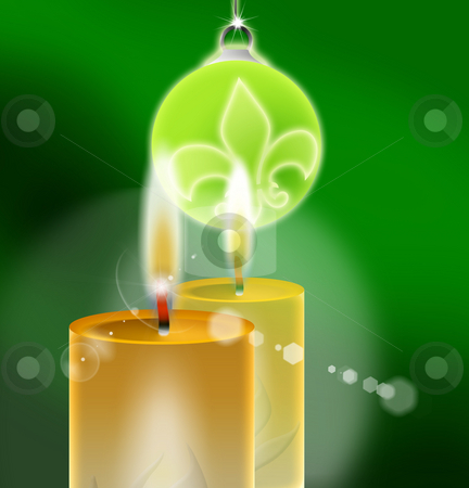 Christmas candle stock photo, Xmas Green - Christmas Background by Stefano SENISE