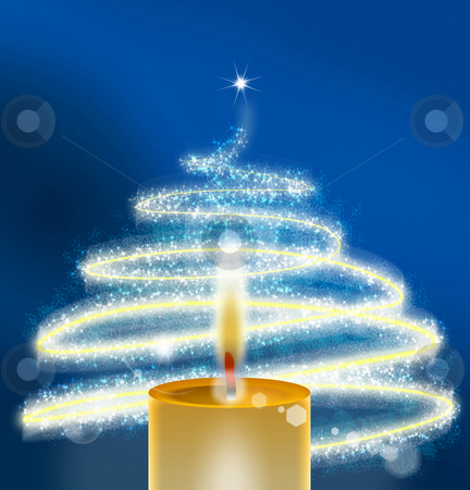 Christmas candle magic stock photo, Green - Christmas Background by Stefano SENISE