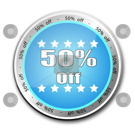 50 Percent off button stock photo, 50% off button by Stefano SENISE