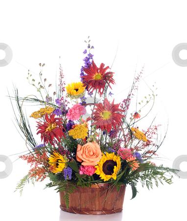 Gift Basket Flower Bouquet stock photo, An expensive gift basket filled with fresh assorted flowers, isolated against a white background by Richard Nelson