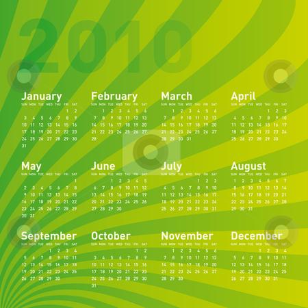 Green Calendar 2010 stock vector clipart, Green Calendar for Year 2010, in vector format by Germán Ariel Berra