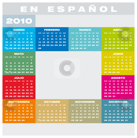 Calendar 2010 in Spanish stock vector clipart, Colorful Calendar for year 2010 in vector format, in Spanish by Germán Ariel Berra