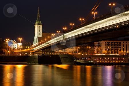 Bratislava at night stock photo, Bratislava, capital of slavakia, st michael church and new bridge by Jan Turcan