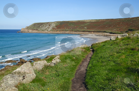 Cornwall coast path to Gwynver beach. stock photo, Cornwall coast path to Gwynver beach. by Stephen Rees
