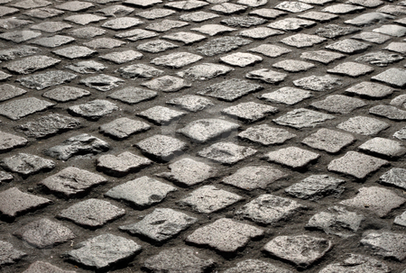 Close up of an old English cobblestone road in Truro. stock photo, Close up of an old English cobblestone road in Truro. by Stephen Rees