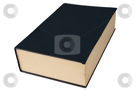 Old black large hardback book isolated on a white background. stock photo, Old black large hardback book isolated on a white background. by Stephen Rees