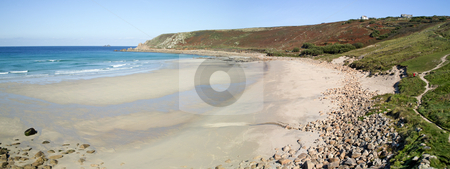 Panoramic view of Gwynver beach in Cornwall England UK. stock photo, Panoramic view of Gwynver beach in Cornwall England UK. by Stephen Rees