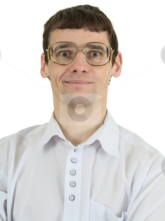 Portrait man in spectacles stock photo, Portrait man in spectacles on the white background by Alexey Romanov