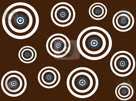 Blue,white and brown retro targets on brown background stock vector clipart, Vector illustration of brown, blue and white retro targets on brown background by Rachel Gordon