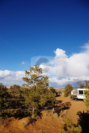 Camping stock photo, Tent camper set up at a desert site. by Andrew Orlemann