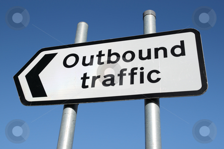 Outbound traffic sign. stock photo, Outbound traffic sign. by Stephen Rees