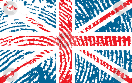 Flag of United Kingdom stock vector clipart, Fingerprinted flag of United Kingdom by ojal_2