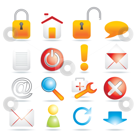 16 web icons stock vector clipart, 16 web icons - vector illustration by Ilyes Laszlo