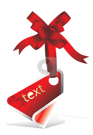 Price tag sticker with ribbon stock vector clipart, Red tag or sticker with ribbon by Ilyes Laszlo