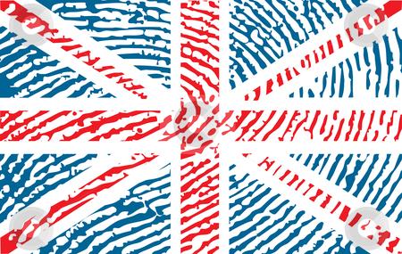 Flag of United Kingdom stock vector clipart, Fingerprinted flag of United Kingdom by ojal_2