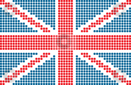 Flag of United Kingdom stock vector clipart, Dotted flag of United Kingdom by ojal_2