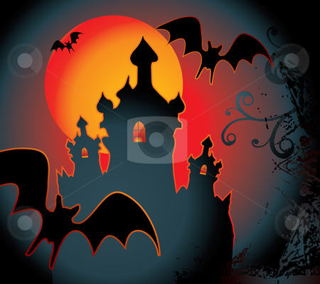 Halloween background stock vector clipart, Halloween background with full orange moon by Ilyes Laszlo
