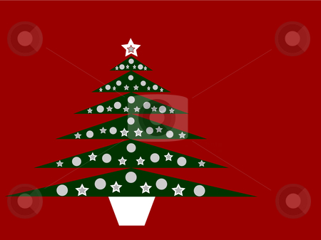 Green Christmas tree on red background stock vector clipart, Green Christmas tree on red background. Suitable for greeting cards, invitations etc. by Rachel Gordon