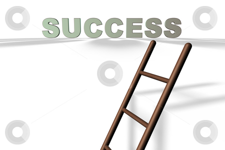 The Ladder of Success stock photo, Royalty free stock image of 3D Illustration of the word Success Isolated on white with a ladder leading to it in a conceptual manner. by Paul Inkles