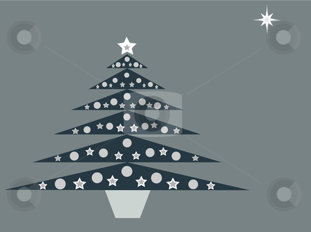 Blue Christmas tree on blue background stock vector clipart, Vector illustration of blue retro Christmas tree with silver and white decorations on icy blue background by Rachel Gordon