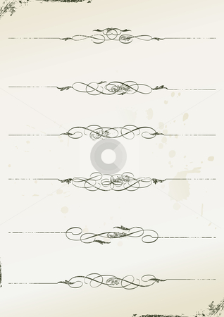 Curly grunge page rules stock vector clipart, Curly grunge page rules - vector illustration by ojal_2