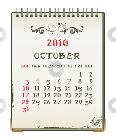 Grunge 2010 calendar stock vector clipart, Grunge 2010 calendar with a blanknote paper - vector illustration by Ilyes Laszlo