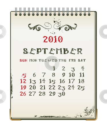 Grunge 2010 calendar stock vector clipart, Grunge 2010 calendar with a blanknote paper - vector illustration by ojal_2