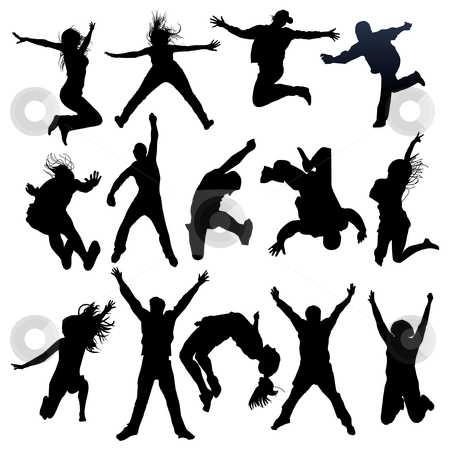 Jumping and flying people silhouettes stock vector clipart, Vector jumping and flying people silhouettes by ojal_2