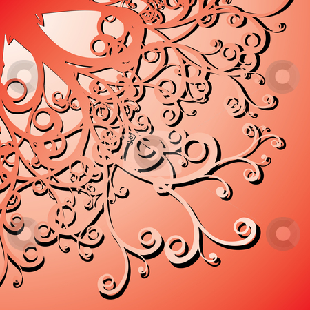 Curly illustration stock vector clipart, Red curly background - vector illustration by ojal_2