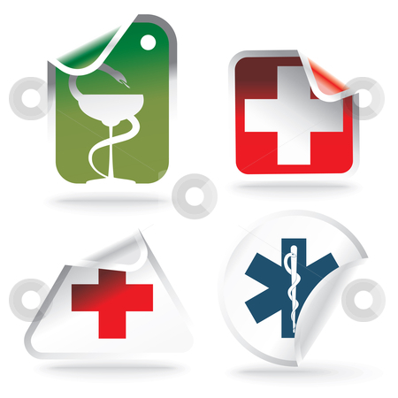 Medical symbols on stickers stock vector clipart, Medical symbols on stickers - vector illustration by Ilyes Laszlo