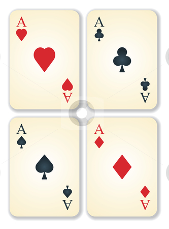 Vector version of old vintage aces cards stock vector clipart, Vector version of old vintage aces playing cards by ojal_2