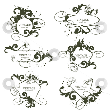 Vintage frames stock vector clipart, Curly grunge vintage frames - vector illustration by ojal_2